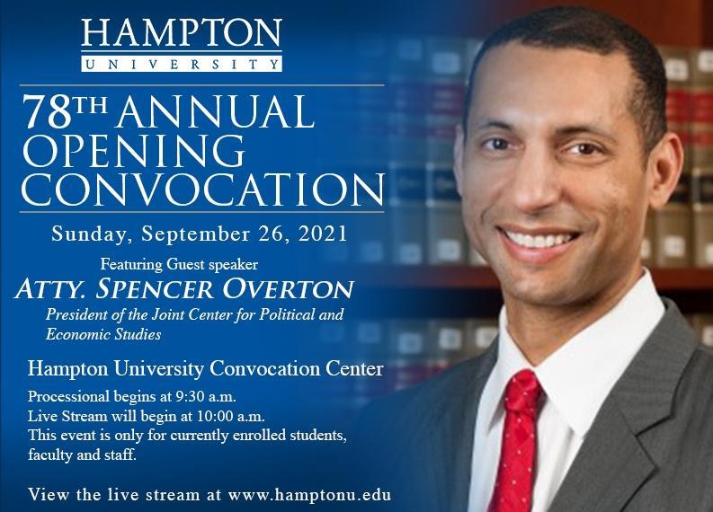 Spencer Overton Hampton University Convocation Flyer